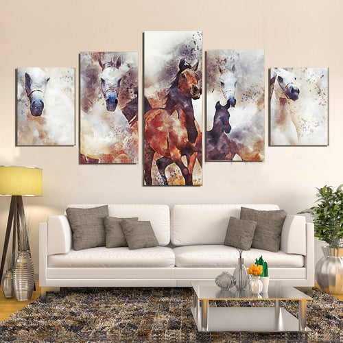 Herd Horses Running Nature Animal Herd Scenic Canvas Prints Wall Art Home Decor - Canvas Print Sale