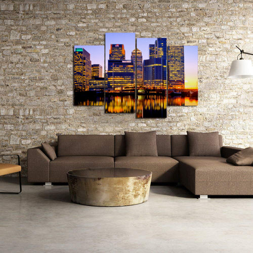 London City Night Lights Buildings River Reflection Canvas Prints