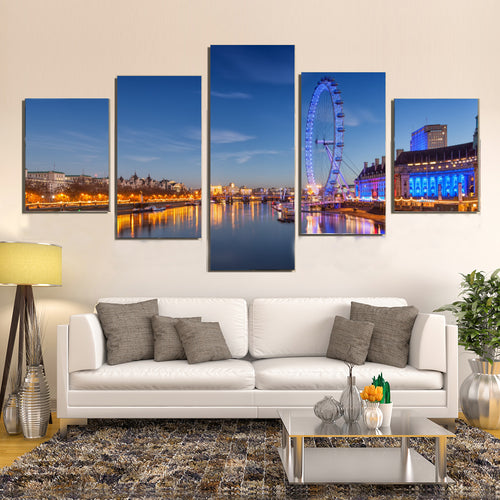 London Eye Ferris Wheel London England Landmark Canvas Prints Wall Art Home Decor