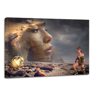 Mystical Beach Woman Fantasy Rock Treasure Vase Canvas Prints Wall Art Home Decor - Canvas Print Sale