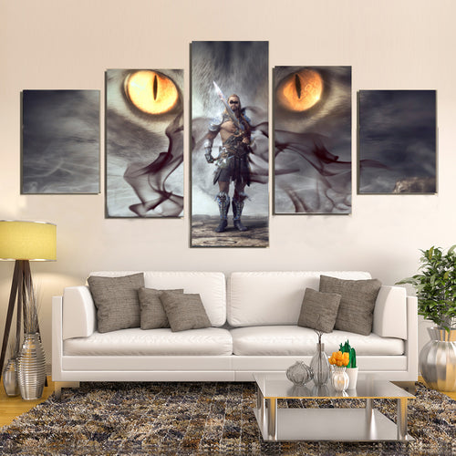 Fantasy Warrior Mystical Eyes Smoke Gloomy Man Canvas Prints Wall Art Home Decor - Canvas Print Sale
