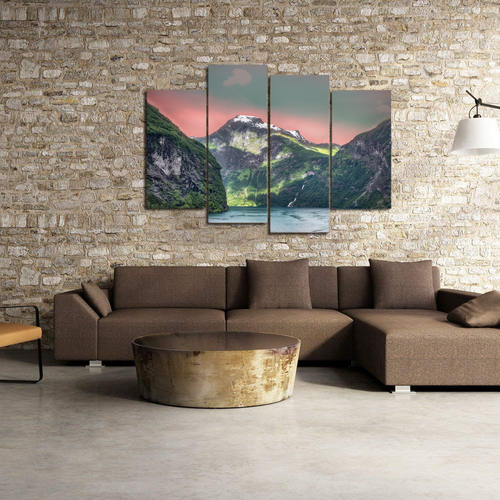 Norway Fjords Mountain Sea Canvas Prints Wall Art