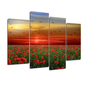 Poppies Flowers Sunset Sky Clouds Birds Canvas Prints Wall Art Home Decor - Canvas Print Sale