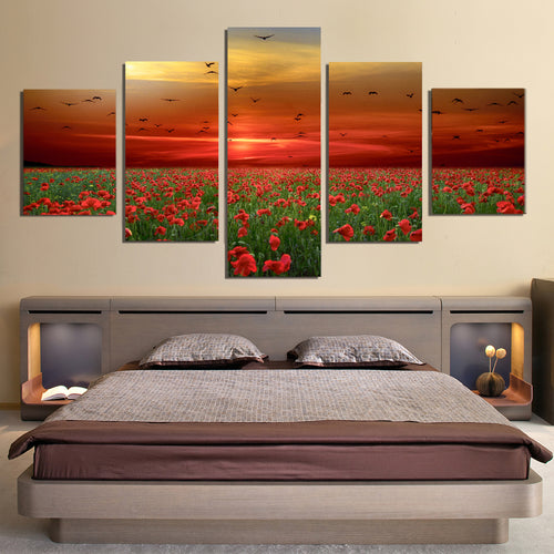 Poppies Flowers Sunset Sky Clouds Birds Canvas Prints Wall Art Home Decor