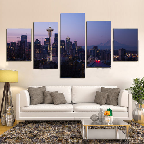 Seattle City Urban Cityscape Skyline Sunset Canvas Prints Wall Art Home Decor