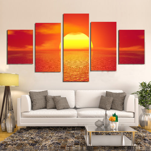 Sky Sea Ocean Sunset Sun Golden Glow Canvas Prints Home Decor Wall Art - Canvas Print Sale