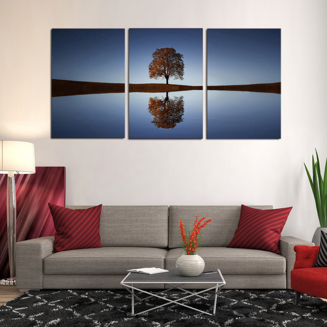 Load image into gallery viewer tree lake canvas prints wall art home decor canvas