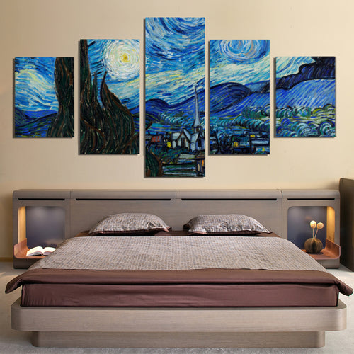 Vincent Van Gogh Starry Sky Oil Painting Canvas Prints Home Decor Wall Art - Canvas Print Sale