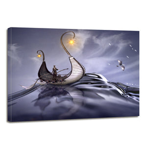 Viking Sea Ocean Water Wave Fantasy Ship Canvas Prints Wall Art Home Decor - Canvas Print Sale