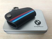 Load image into Gallery viewer, M Color Stripe Carbon Fiber Leather Key Holder Bag Fit for BMW 2 3 4 5 6 7 Series X1 X3 X4