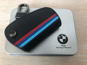 M Color Stripe Carbon Fiber Leather Key Holder Bag Fit for BMW 2 3 4 5 6 7 Series X1 X3 X4