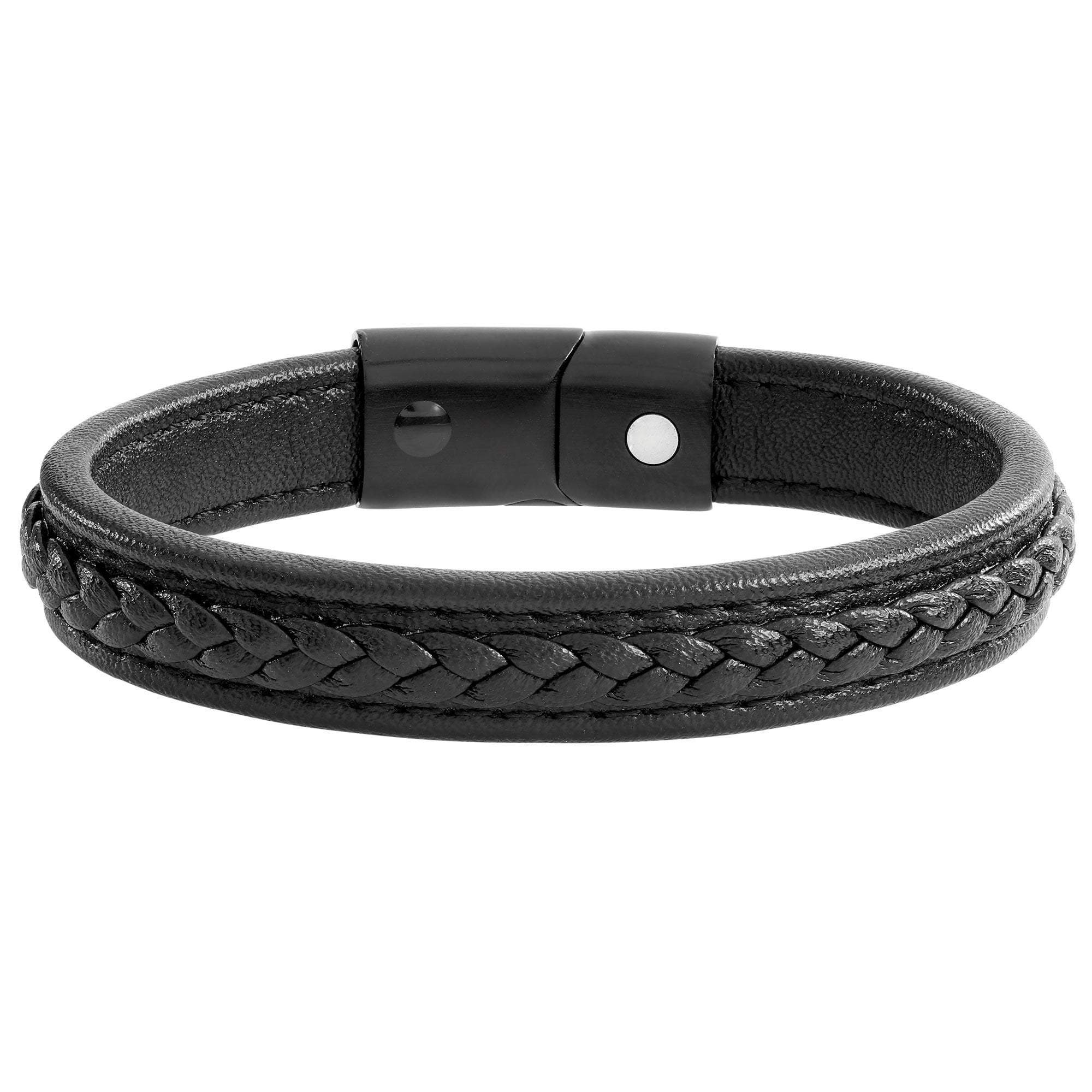 Leather Magnetic Bracelet S (16cm) Black Magnetic Leather Plait Bracelet