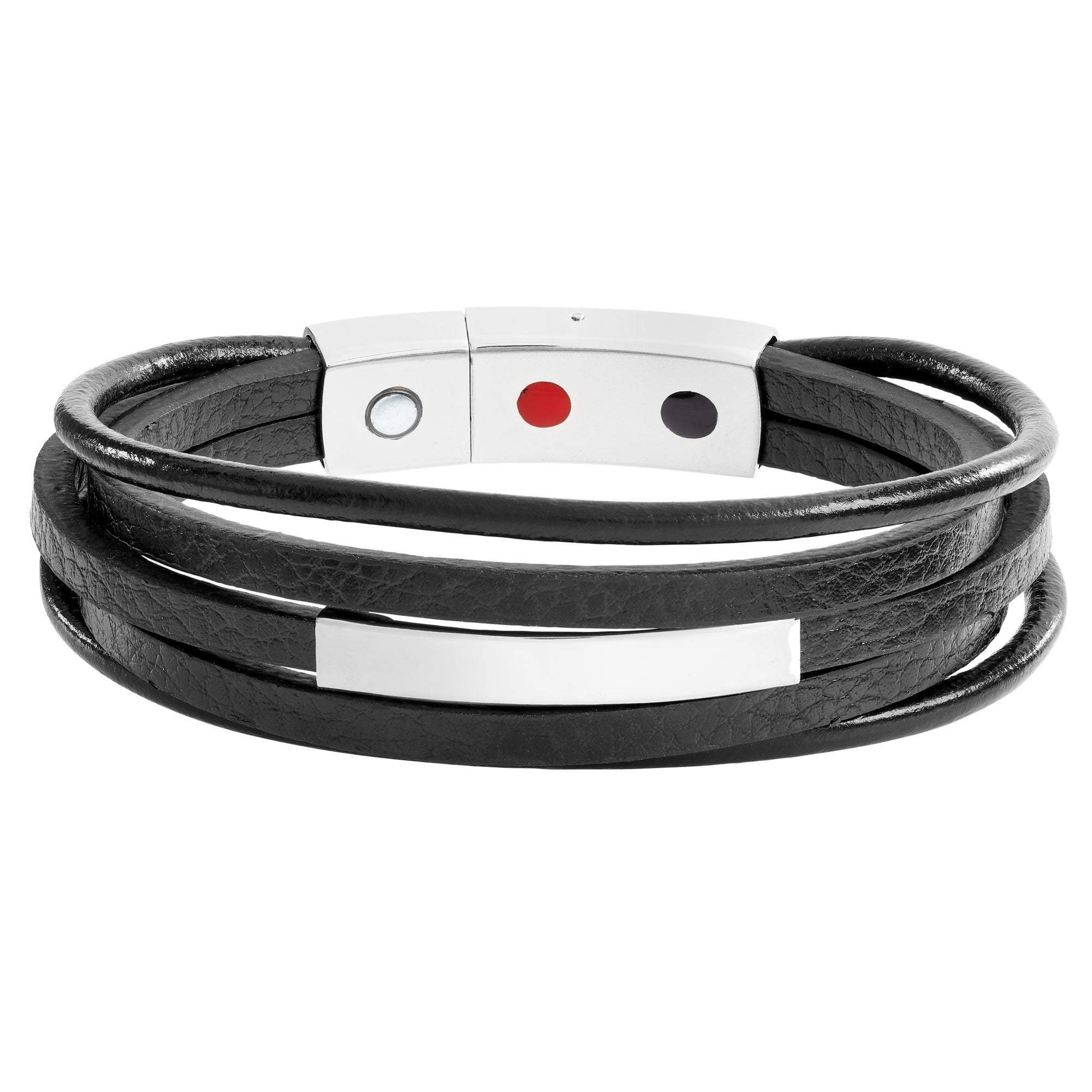 Black Magnetic Leather Wrap Health Bracelet