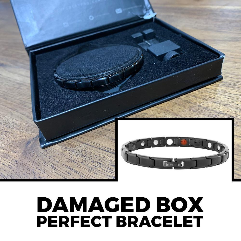 DAMAGED BOX Slimline Black Titancore Titanium Magnetic Bracelet