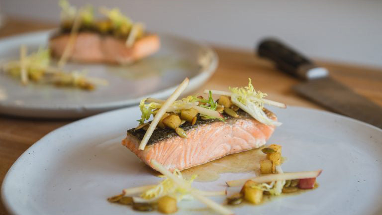 Crispy Skin Salmon with Pumpkin Seed and Apple Brown Butter