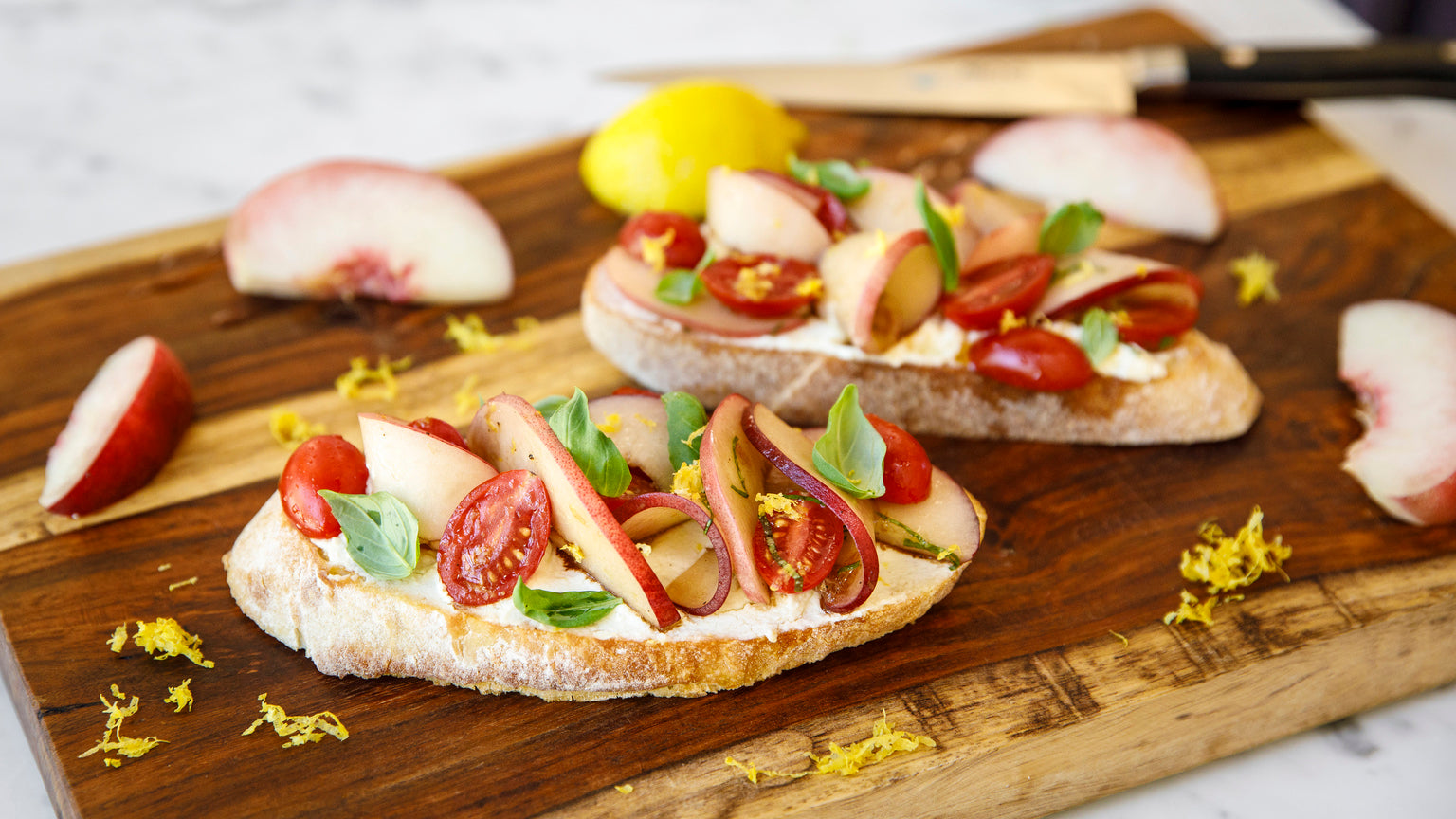 Peach and Tomato Bruschetta