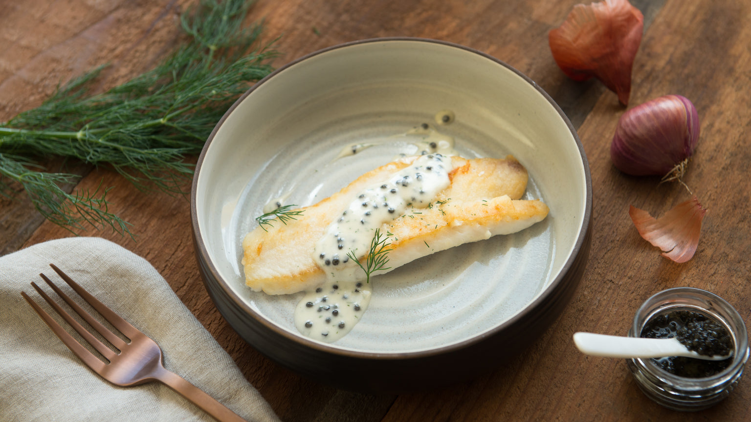 Pan Seared Petrale Sole with Dill and Caviar Emulsion