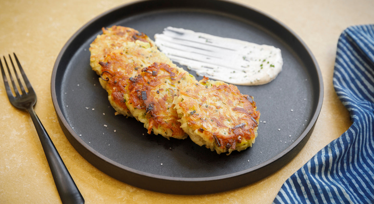 Potato and Leek Latkes with Chive Sour Cream