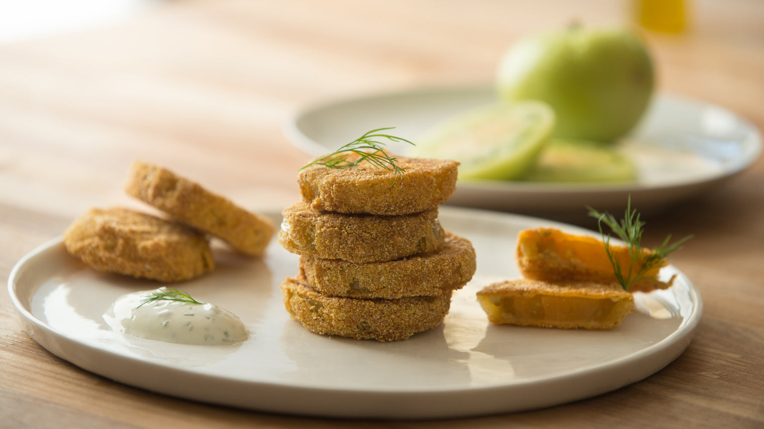 Fried Green Tomatoes with Dill Yogurt