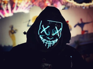 alloween Mask LED Maske Light Up Party Masks Neon Maska Cosplay Mascara Horror Mascarillas Glow In Dark Masque V for Vendetta