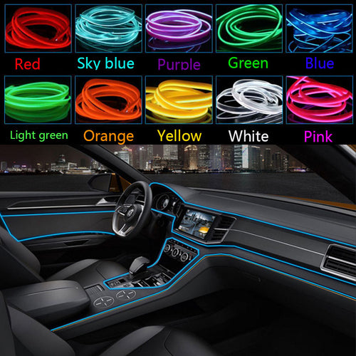 EL Wire 8mm Sewing Edge Neon car Lights Dance Party Car Decor Light Flexible EL Wire lamps Rope Tube LED Strip With DC12V Driver