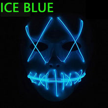Load image into Gallery viewer, EL Wire Mask Light Up Neon Skull LED Mask For Halloween Party And Concert Scary Party Theme Cosplay Payday Series Masks