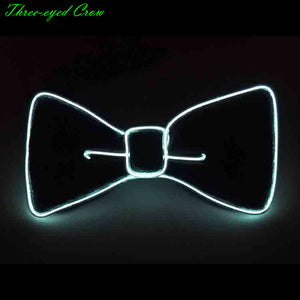 Fashion Men LED EL Wire Necktie Luminous Neon Flashing Light Up Bow Tie for Club Cosplay Party Decoration Gravatas Para Homens