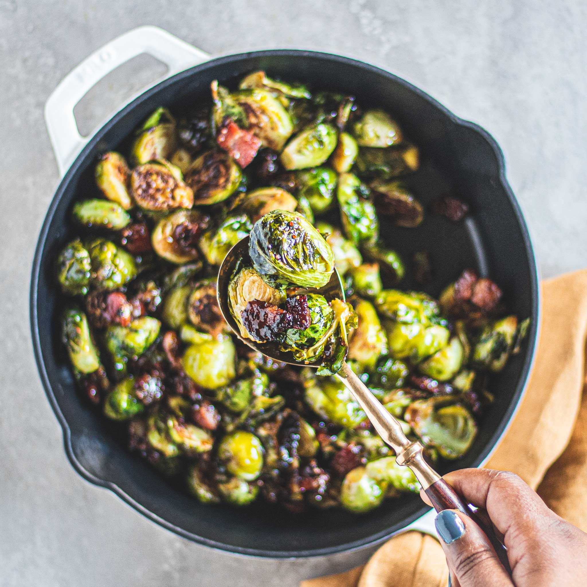 Maple Bacon Bourbon Brussel Sprouts in Milo Cast Iron Skillet