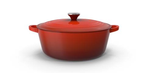 A red enamelware dutch oven