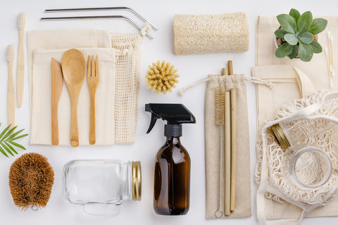 Assorted eco-friendly kitchen utensils and cleaning tools