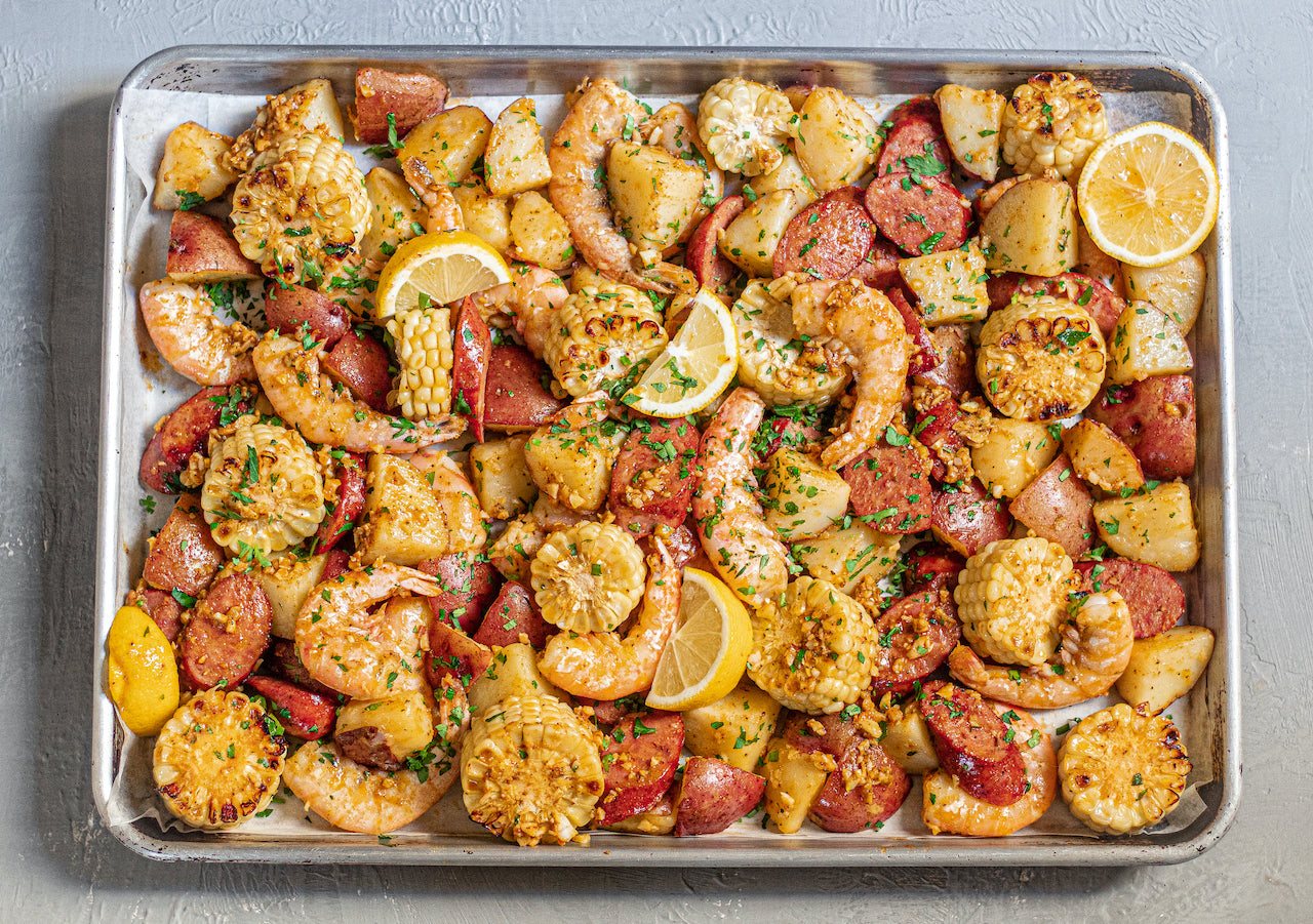 shrimp boil recipe on a sheet pan
