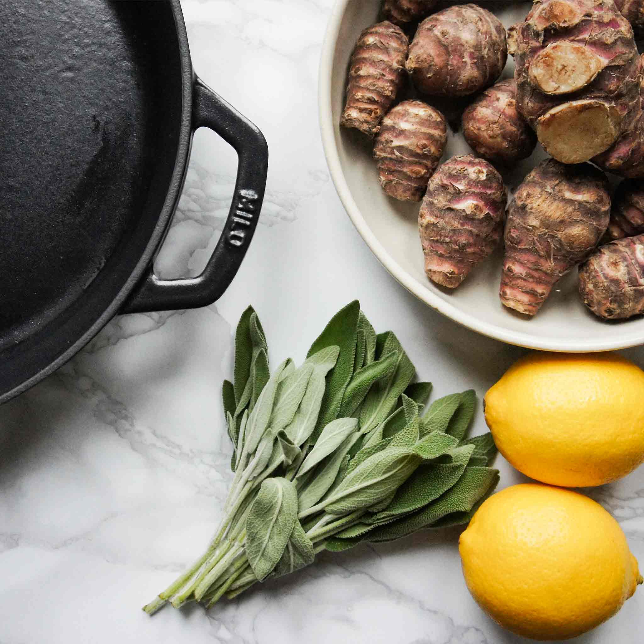 Jerusalem artichokes with lemon and sage