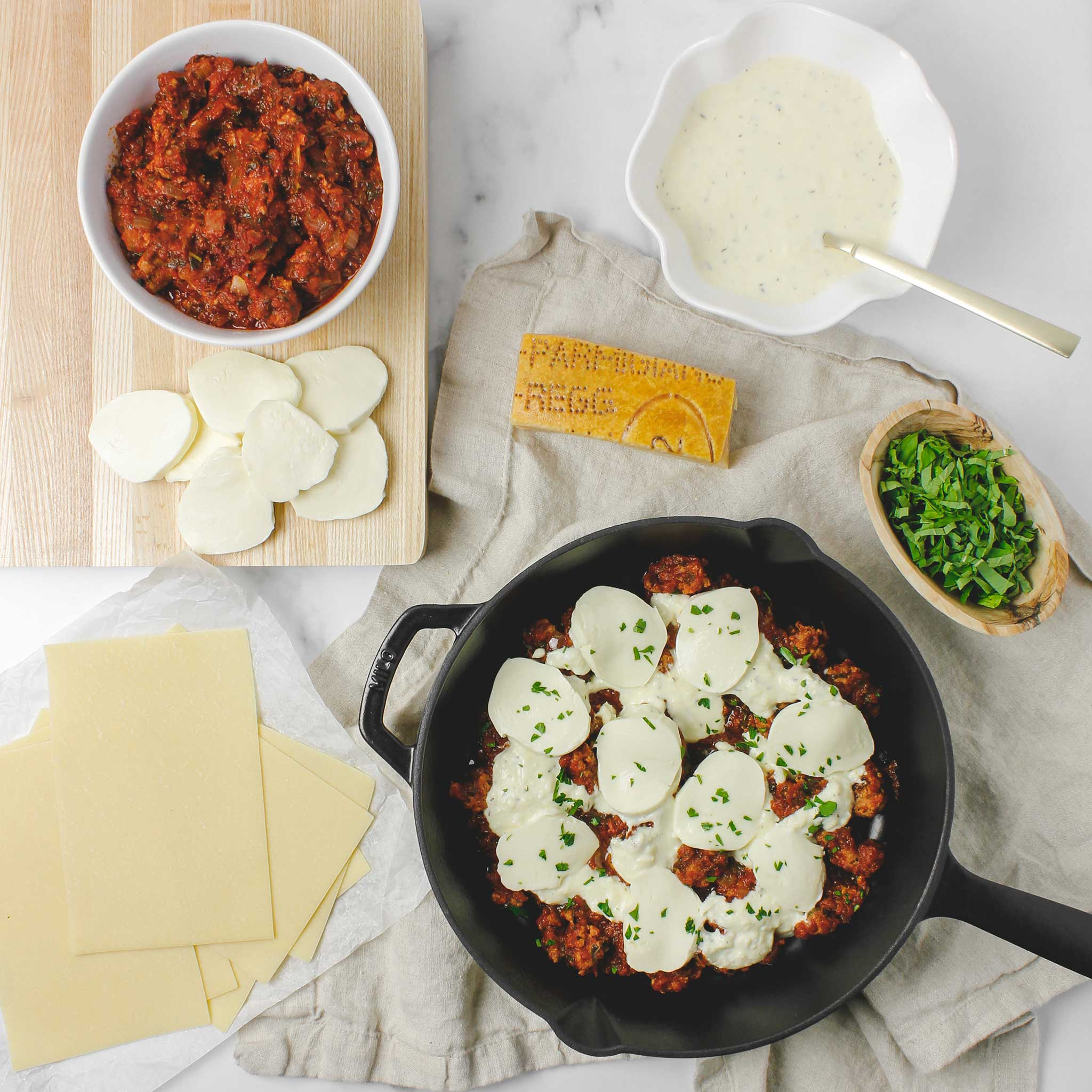 Gluten free skillet lasagna ingredients
