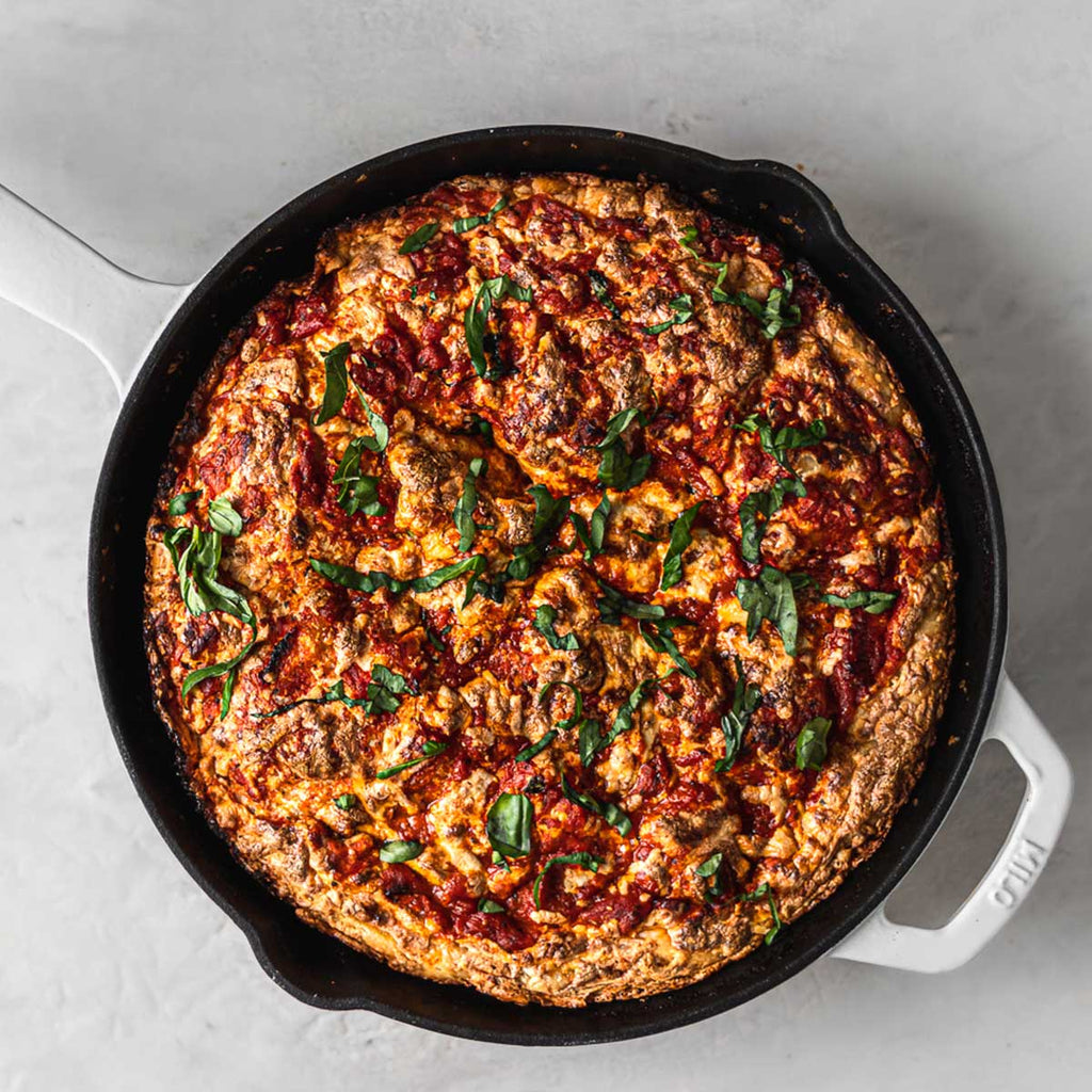 Making pizza in a cast iron skillet