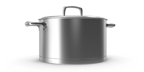 A large stainless steel pot