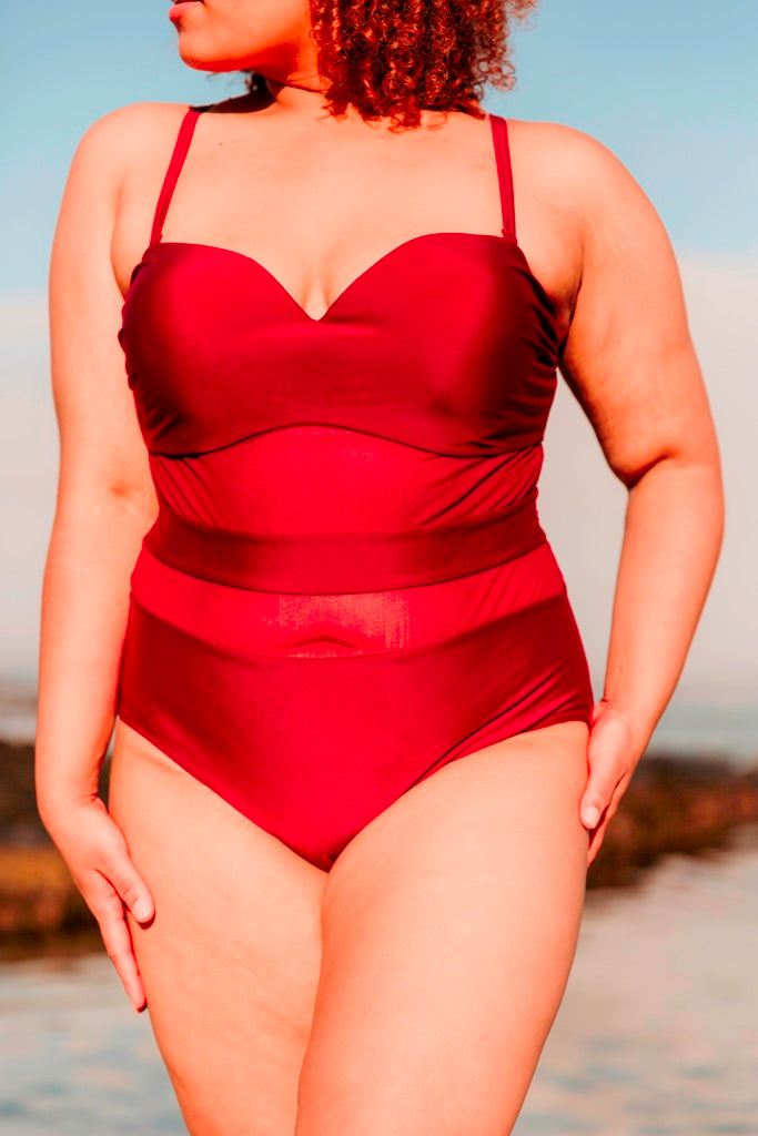 Mesh Insert One Piece Bikini- Wine