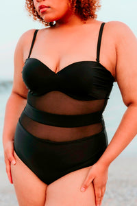 Mesh Insert One Piece Bikini- Black