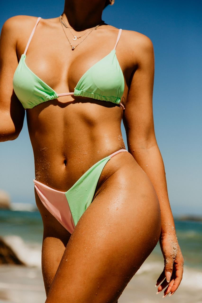 Pink and mint bikini set