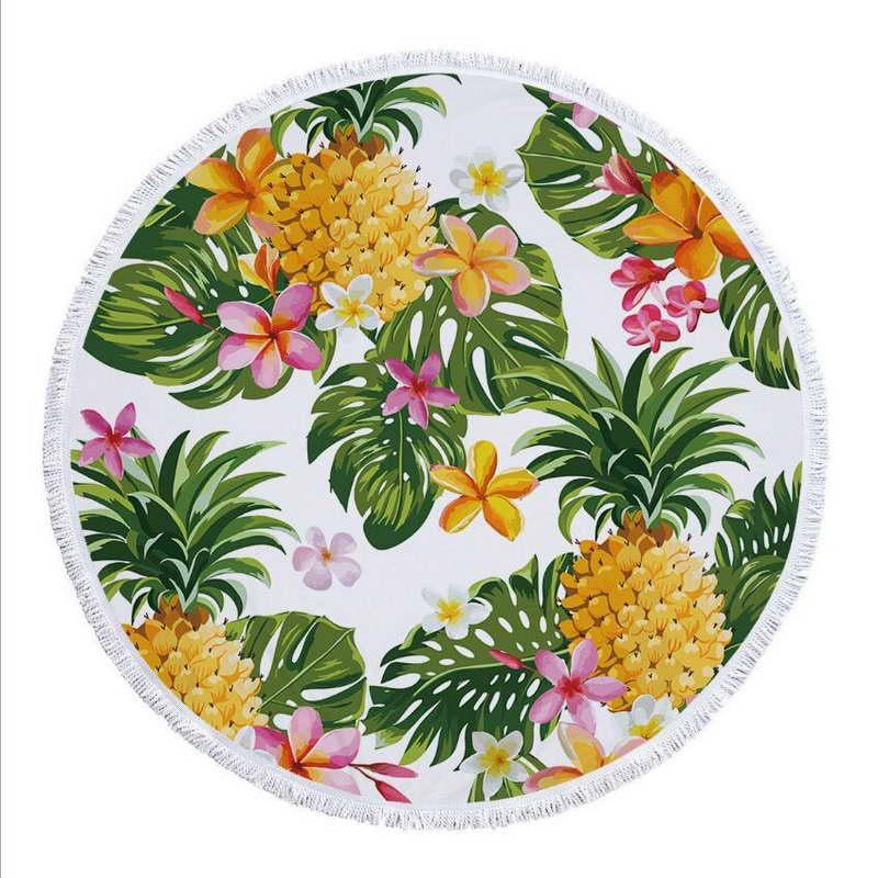 Pineapple & Palm print round towel