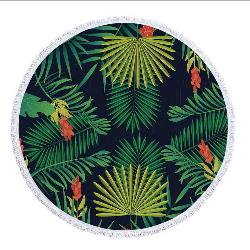 Dark palm print round towel