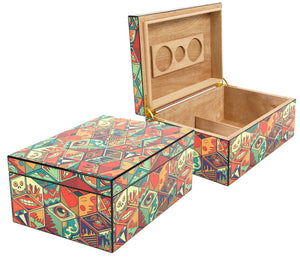 Jungle Love Collage Humidor 50 Count Closed And Open View