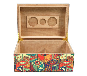 Jungle Love Collage Cigar Humidor 50 Count Open View Front