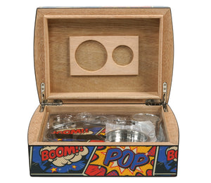 Pop Bang Splat Travel Humidor Set Open View Front