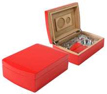 Load image into Gallery viewer, Candy Apple Red Travel Humidor Closed And Open View