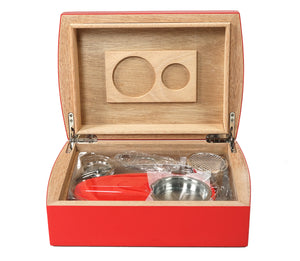 Candy Apple Red Travel Humidor Set Open View Front