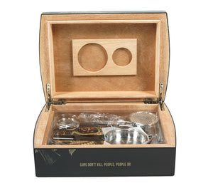 Guns Don't Kill People Travel Humidor Set Open View Front