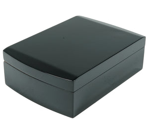 Midnight Black Travel Humidor Closed View Angled