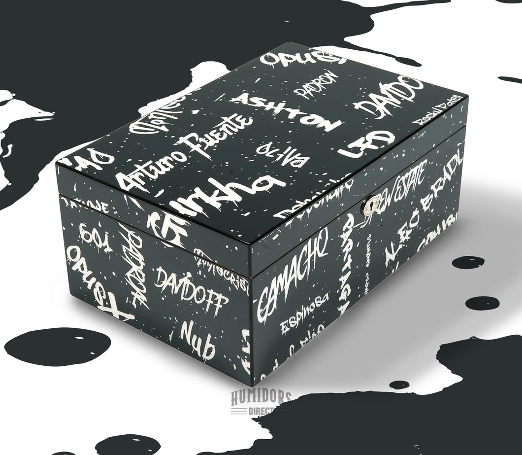 Black with White Graffiti Humidor 100 Count