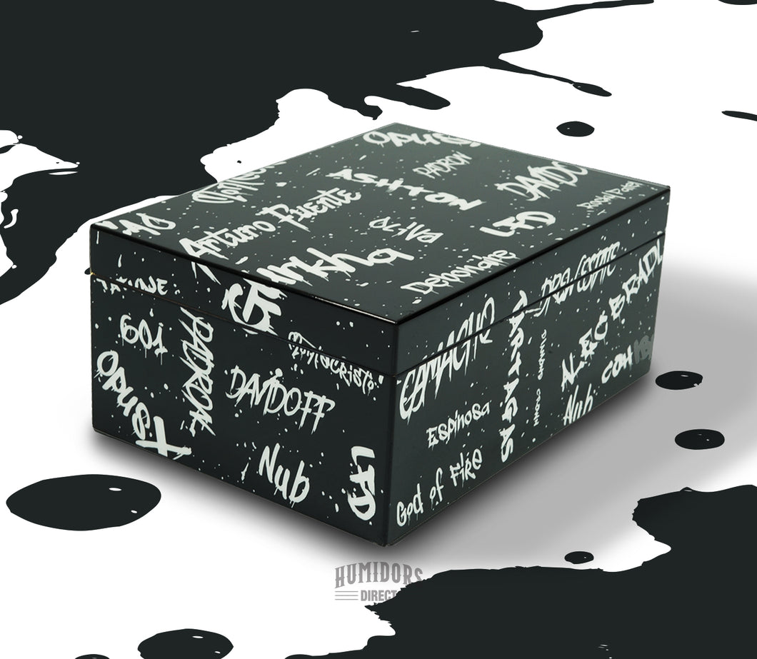 Black with White Graffiti Humidor 50 Count