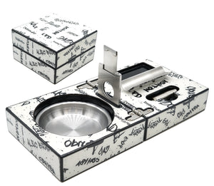 White with Black Graffiti Cigar Ashtray